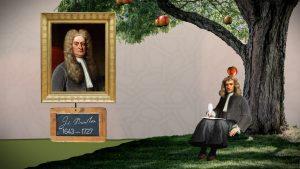 Newton sitzt unter einem Baum und ein Apfel fällt ihm auf den Kopf