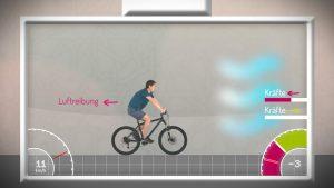Ein Radfahrer kämpft gegen den Wind an